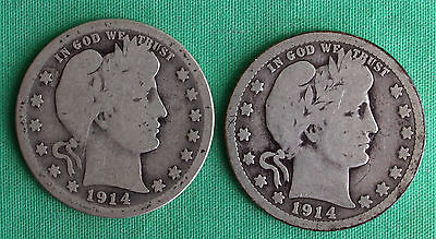 Lot of Two 1914 1914 D Silver Barber Quarter Twenty Five Cent 2 US Type Coins