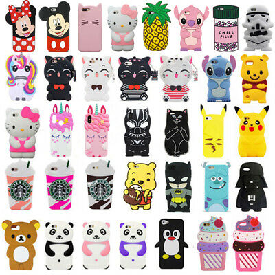 For iPhone iPod Touch 5 / 6 3D Case Cover Cute Cartoon Animal Soft Silicone Back