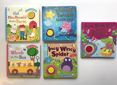Incy Wincy MacDonald Wheels Twinkle Row Collection Of 5 Sound Book Age 0 Mnths+