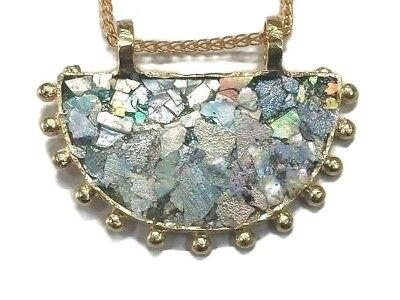 Ancient Roman Glass  Pendent 200 BC Large 18k Gold Plated Fragment