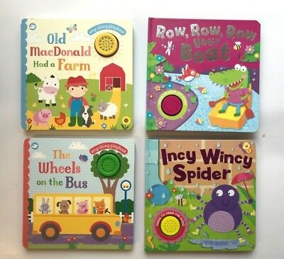 Collection Of 4 Sound Books Incy Wincy MacDonald Wheels Row Row Ages 0 Months+
