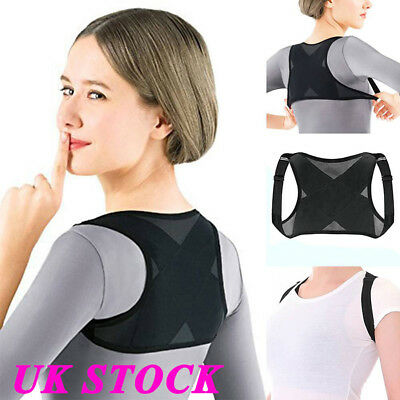 UK Posture Corrector Back Brace Support Shoulder Belt Adjustable Women Men Adult