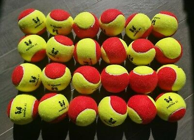 24 Australia A1 Stage 3 Red Tennis Balls 75% Slower For Kids Age 2-8