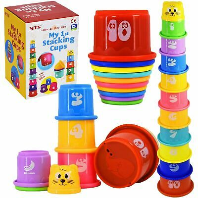 11 Pcs Building Beakers Nesting Cups Stacking Blocks Toddler Baby Bath Toy Teddy