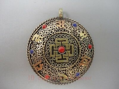 Collect Ancient China Tibet Copper Mosaic Jewelry Good Luck Symbol Pendant Gift