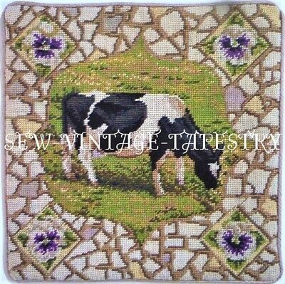EHRMAN PANSY THE COW by KAFFE FASSETT vintage TAPESTRY NEEDLEPOINT KIT