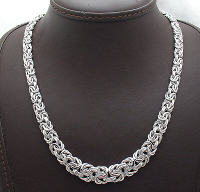 """18"""" Graduated Byzantine Chain Necklace Anti-Tarnish Real 925 Sterling Silver"""