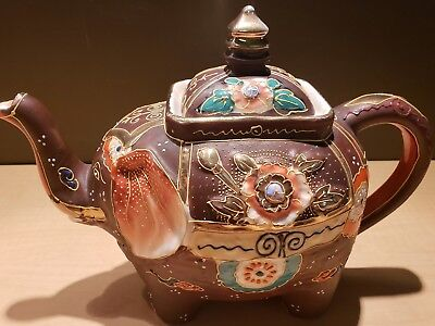 Vintage Japanese Moriage Gilded Satsuma Hand Painted Elephant Teapot Tea Kettle