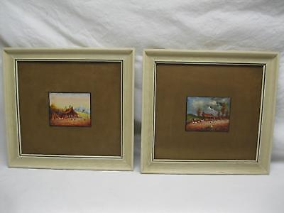Pair Oswaldo Moncayo Ecuador Mini Oil Paintings Original Old Antique Vtg