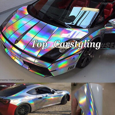 Glossy Holographic Laser Mirror Chrome Silver Vinyl Auto Wrap Film Bubble Free