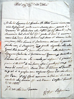 1740 Letter Prephilatelic From Ferrara To Bologna On Wheat And Agriculture
