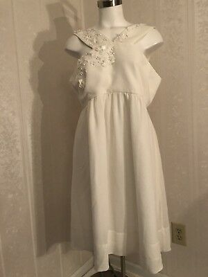 Maternity NEW A Pea In The Pod Sz Large Silk Ivory Sheer Formal Party Dress $148