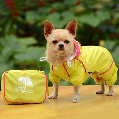 Dog Raincoat Warm Waterproof Hooded Jumpsuit Pet Puppy Rainwear Outdoor Apparel