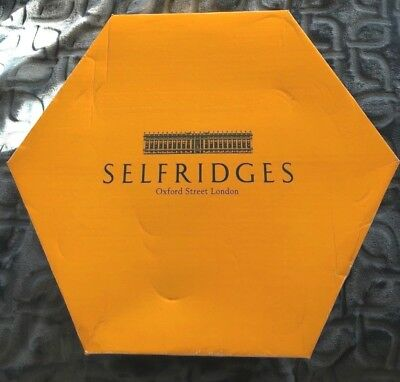Selfridges Oxford Street London Vintage Hexagonal Hat Box +Tissue Paper - Used