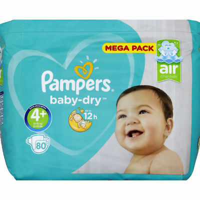 Mega Pack 80 Couches Pampers baby-dry Taille 4+ de 10 à 15 kg