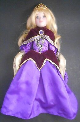 "Brass Key Disney Sleeping Beauty Aurora Purple Dress 16"" Porcelain Doll EUC"