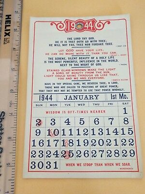1944 Wall Calendar with Religious Prayers/Quotes and Moon Phases UNUSED