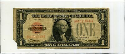 United States Note $1 One Dollar 1928 Red Seal in Circ Condition SN A01021648A