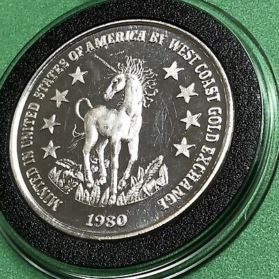 1980 Unicorn Statue Of Liberty 1 Troy Oz .999 Fine Silver Collectible Round Coin