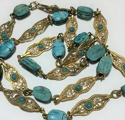 Egyptian Revival Carved Blue Faience Scarab Necklace Gold Tone Open Links 918m