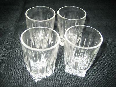 On $Ale****Four Vintage Federal Star Style Clear Glass Shot Glasses