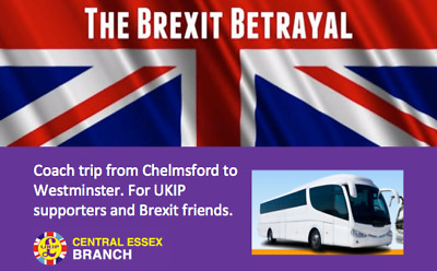 Brexit betrayal Chelmsford coach trip ticket