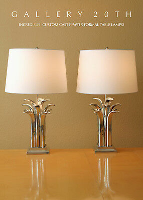 Wow! Pair Custom Cast Formal Art Deco Table Lamps! Mid Century Eames Vtg 60S 70S