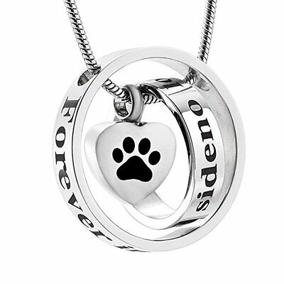 Dog Cat Paw Pet Cremation Necklace Jewellery Ashes Urn Pendant Keepsake Memorial