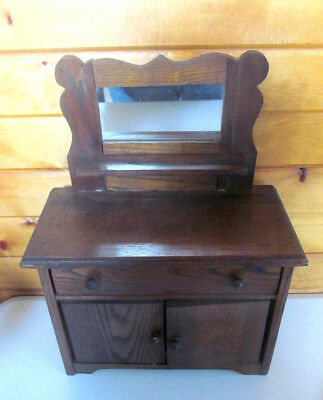 Antique Child Doll Toy Wood Oak SideBoard Buffet Back Mirror~1905 CONVERSE Label