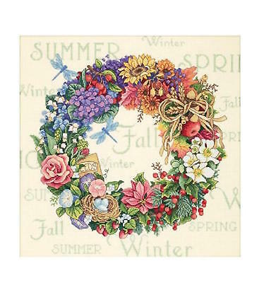 Dimensions Gold Collection Wreath Of All Seasons Counted Cross Stitch