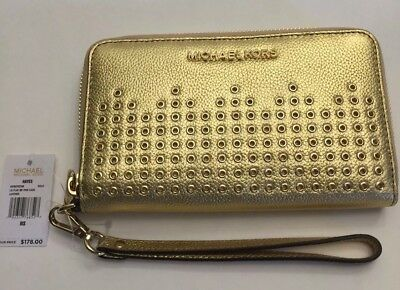 c6f23bdc1408 Nwt Michael Kors Grommet Leather Hayes Lg Flat Phone Case Wallet In Gold   178.00