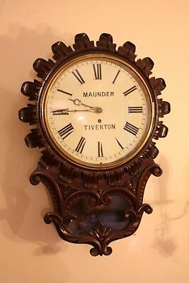 SUPERB ROSEWOOD SINGLE FUSEE CARVED WALL CLOCK c1850 MAUNDER of TIVERTON DEVON