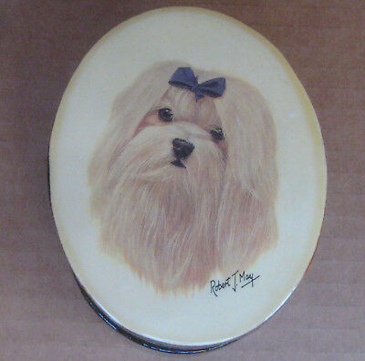 Maltese Dog by Robert J May- Small Oval Lacquered Box Trinket Jewery Stash 4x3x2