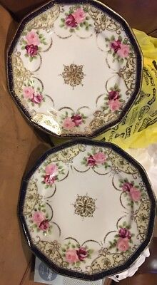 ANTIQUE Hand Painted NIPPON 2 Porcelain plates Or Dishes Gilded & Roses Japan