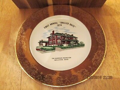 1974 Wellston Ohio 1st annual Ohillco Days Morgan Mansion plate
