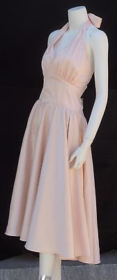 Pinup Couture Vtg 50s style Halter Swing Dress Blush Bombshell Rockabilly Monroe