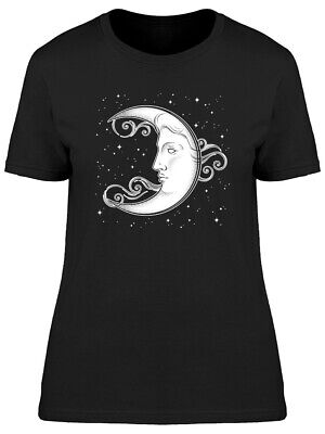 Crescent Moon And Stars Graphic Women's Tee -Image by Shutterstock