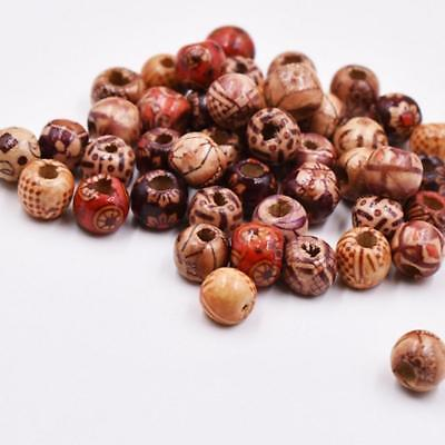 200pcs Wooden Beads Hair Braiding Jewellery 10/12mm For Dreadlocks Pigtail