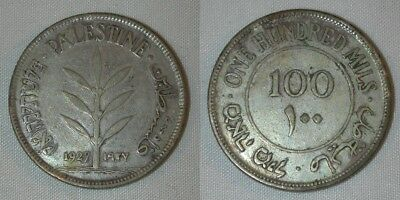 Beautiful 1927 Silver Coin Palestine One Hundred Mils KM# 7, Good Very Fine