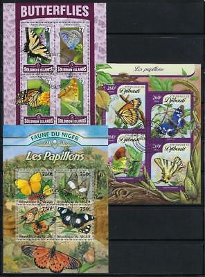 FS9621 3 Diff Souvenir Sheets of Insects Rare & Unusual Colorful Butterflies