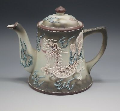 Nippon Japan Vintage Dragon Ware Moriage Blue Gray White Teapot