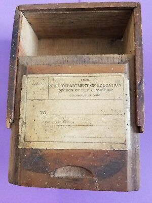 Vintage Wooden Film Box- Division of Film Censorship to RKO Pictures