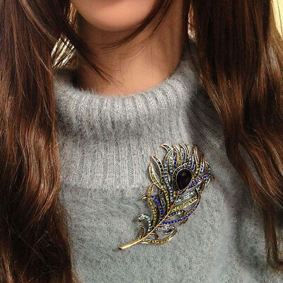 Women Vintage Feather Bronze Brooch Pin Antique Crystal  Metal Jewelry Accessory