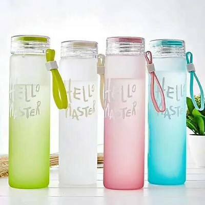 420ml Gradient Glass Water Bottle Gym Sport Bottle Outdoor Portable Drinking Cup