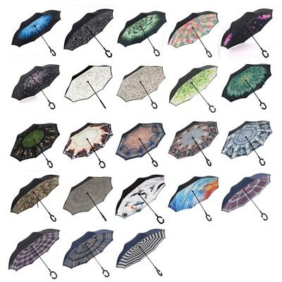 Modern Upside Down Folding Umbrella C-Handle Double Layer Inside-Out Windproof