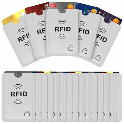 20 RFID Secure Credit Card Car Key Blocking Sleeves Holder Protector Case Shield