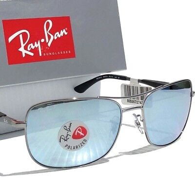 e3793d9d37f NEW  Ray Ban AVIATOR Squared Satin w POLARIZED Silver Sunglass RB 3515  004 Y4
