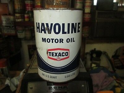 Early Original Havoline Texaco Motor Oil Quart Metal Can Full