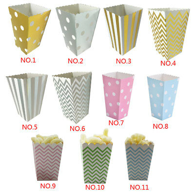 12pcs Paper Popcorn Candy Sanck Gift Boxes For Baby Shower Wedding Party Decor