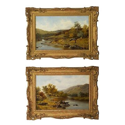 Pair of Antique English Landscape Oil Paintings on River by Thomas Callowhill